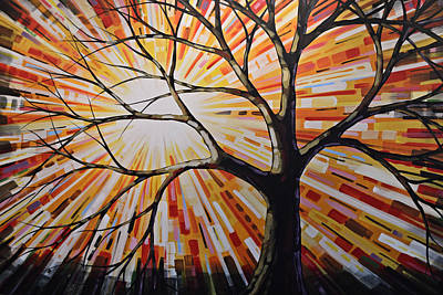 Poster featuring the painting Original Abstract Tree Landscape Painting ... Shine by Amy Giacomelli