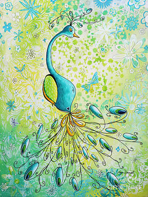 Original Acrylic Bird Floral Painting Peacock Glory By Megan Duncanson Poster