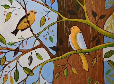 Poster featuring the painting Original Animal Birds Art Painting ... Birds In The Garden by Amy Giacomelli