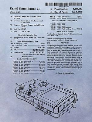 Original Gameboy Patent Poster