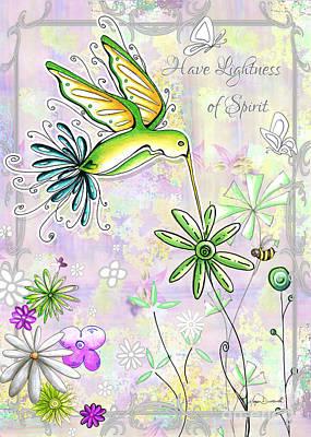 Original Inspirational Uplifting Hummingbird Floral Painting Art Quote Design By Megan Duncanson Poster by Megan Duncanson