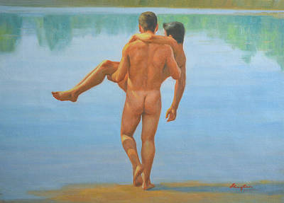 Original Oil Painting Man Body Art -male Nude By The Pool -073 Poster by Hongtao     Huang