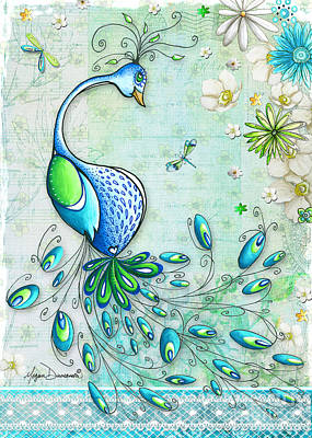 Original Peacock Painting Bird Art By Megan Duncanson Poster