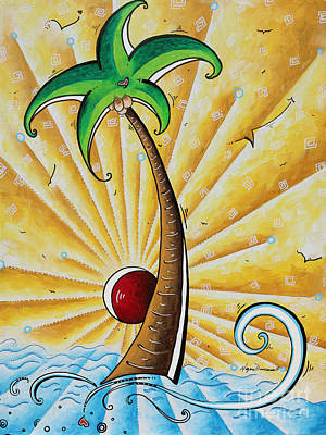 Original Pop Art Tropical Palm Tree Painting In The Tropics By Megan Duncanson Poster by Megan Duncanson