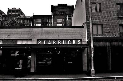 Original Starbucks Black And White Poster by Benjamin Yeager