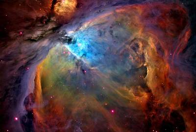Orion Nebula Close Up 1-3-14 Enhanced Poster by L Brown