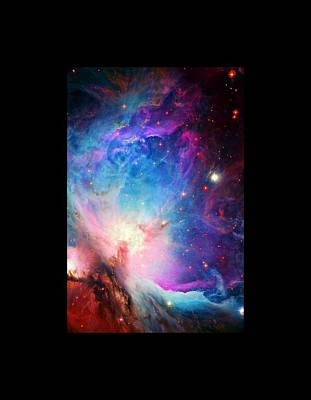 Orion Nebula Close Up Large Black Border Poster by L Brown