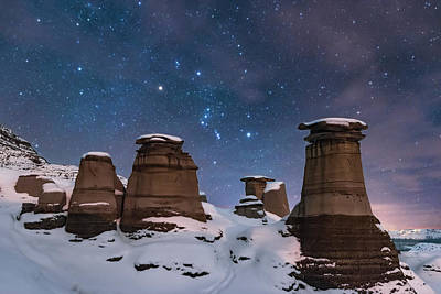 Orion Over The Snowy Hoodoos Poster