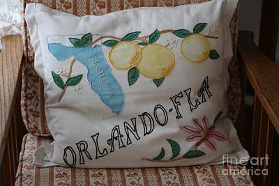 Orlando Vintage Pillow Poster by Carol Groenen