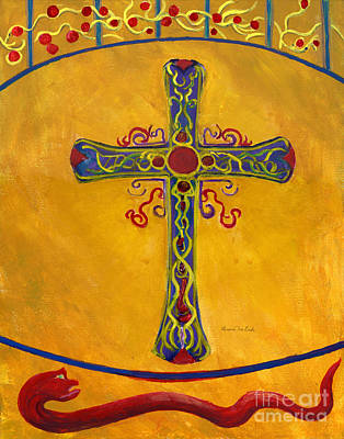 Ornamental Cross And Snake  Poster