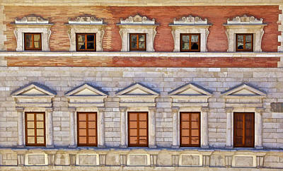 Ornate Carved Stone Windows Of A Government Building In Tuscany Poster by David Letts