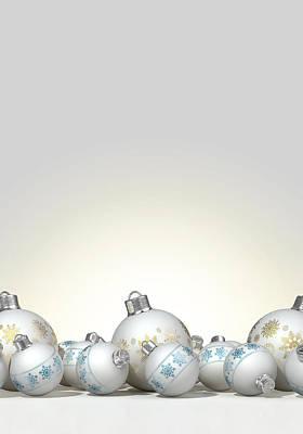 Ornate Matte White Christmas Baubles Poster