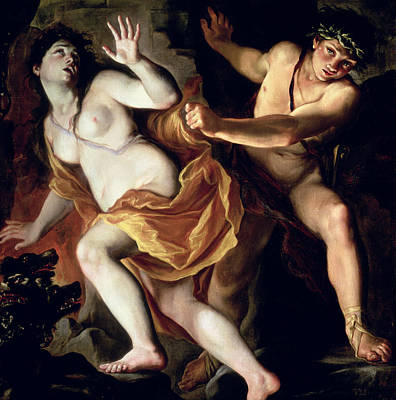 Orpheus And Eurydice Poster by Giovanni Antonio Burrini or Burino