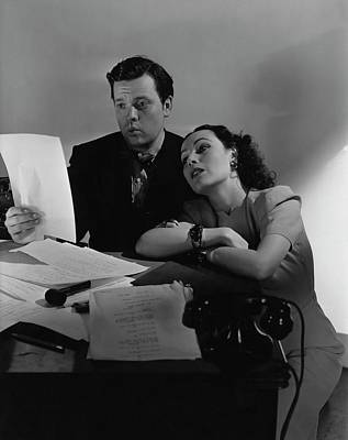 Orson Welles And Dolores Del Rio Sitting Poster