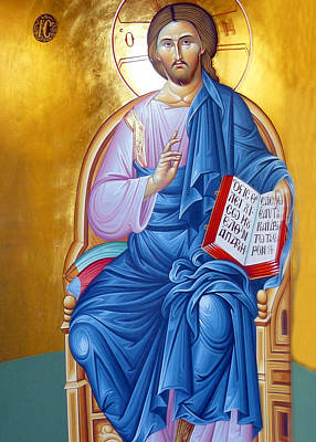 Orthodox Icon Of Jesus In Blue Poster