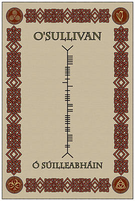 O'sullivan Written In Ogham Poster by Ireland Calling