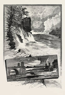 Ottawa, Chaudiere Falls, And Suspension Bridge Poster by Canadian School