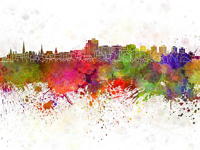 Ottawa Skyline In Watercolor Background Poster