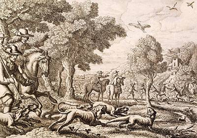 Otter Hunting By A River, Engraved Poster by Francis Barlow