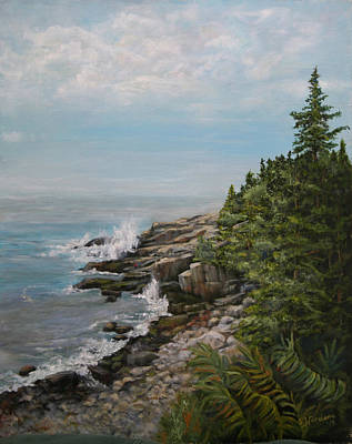Poster featuring the painting Otter Point - New England by Sandra Nardone