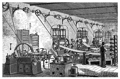 Otto Engine In A Factory Poster