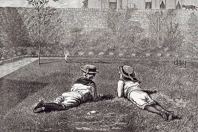 Our Boys, 1877 Garden Wall Grass Hat Tin Soldiers Tin Gun Poster by Severn, Walter (1830-1904), English