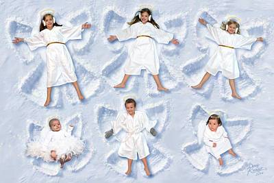 Poster featuring the photograph Our Christmas Snow Angels by Doug Kreuger
