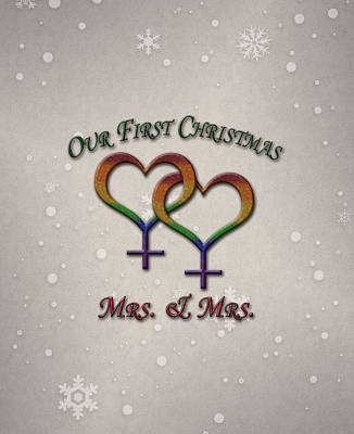 Our First Christmas Lesbian Pride Poster by Tavia Starfire