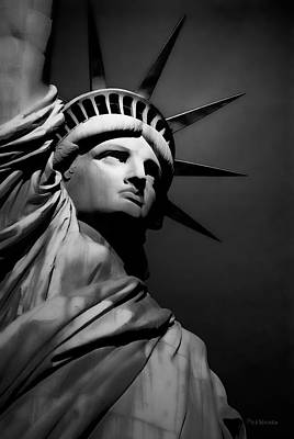 Our Lady Liberty In B/w Poster