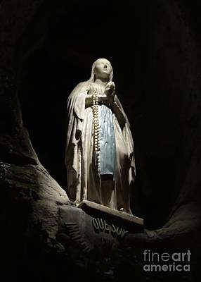 Our Lady Of Lourdes Grotto At Night Poster by Carol Groenen