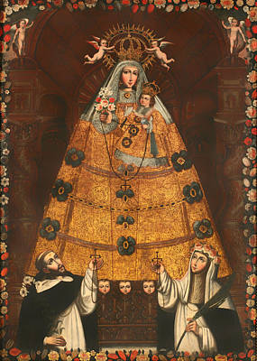 Our Lady Of The Rosary With St Dominick And St Rose Poster