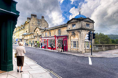 Out For A Walk On Pulteney Bridge In Bath England Poster by Mark E Tisdale