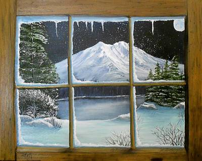 Out My Window-bright Winter's Night Poster by Sheri Keith