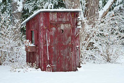 Outhouse Garden Shed In Winter, Marion Poster