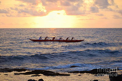 Outrigger Canoe At Sunset In Kailua Kona Poster by Catherine Sherman
