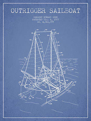 Outrigger Sailboat Patent From 1977 - Light Blue Poster