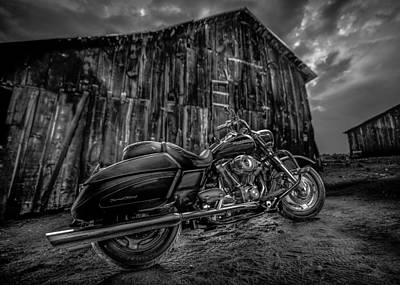 Outside The Barn Bw Poster
