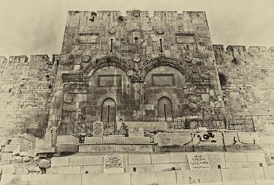 Outside The Eastern Gate Old City Jerusalem Poster