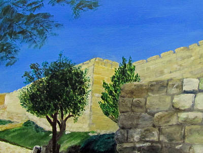 Poster featuring the painting Outside The Wall - Jerusalem by Linda Feinberg