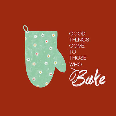 Oven Mitt With Red Poster by Nancy Ingersoll