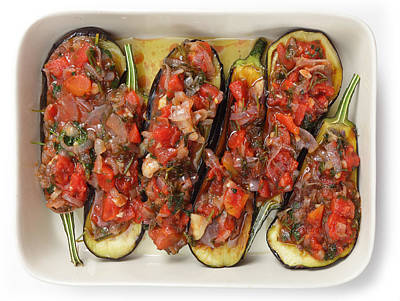 Oven Ready Stuffed Aubergines Poster by Paul Cowan