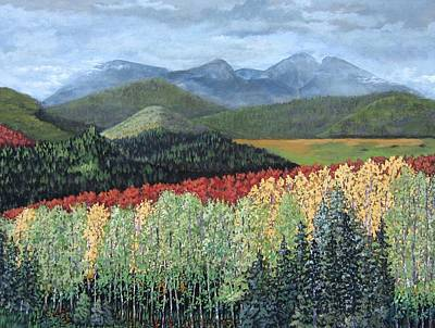 Poster featuring the painting Over The Hills And Through The Woods by Suzanne Theis