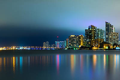 Overcast Miami Night Skyline Poster