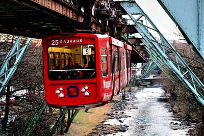 overhead railway Schwebebahn Wuppertal Poster by Steffi Pilz