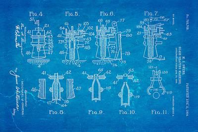 Owens Glass Shaping Machine Patent Art 1904 Blueprint Poster by Ian Monk
