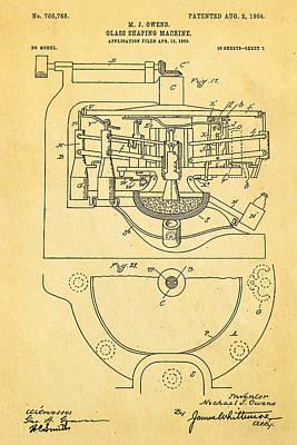 Owens Glass Shaping Machine Patent Art 3 1904 Poster by Ian Monk