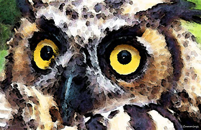 Owl Art - Who Poster by Sharon Cummings