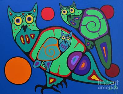 Owl Family Poster by Jim Oskineegish