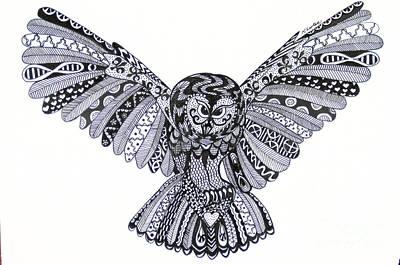 Owl In Flight Cream Poster