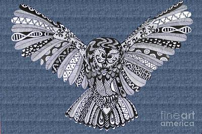 Owl In Flight Denim Poster